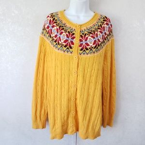 Woman Within Fair Isle Button Front Cardigan